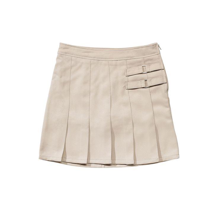 Girls 4-20 & Plus Size French Toast School Uniform 2-Buckle Solid Skort, Girl's, Size: 18, Beig/Green (Beig/Khaki)