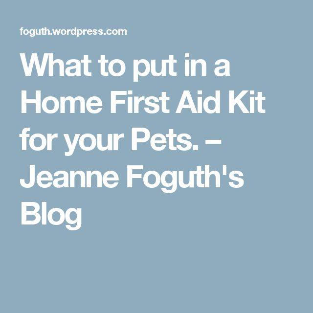 What to put in a Home First Aid Kit for your Pets. – Jeanne Foguth's Blog