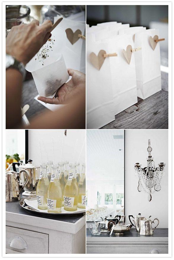 Bridal shower tea party with DIY tea bag station