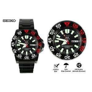 SEIKO Sports Mens Self-Winding Automatic Black Stainless Watch SNZF53K