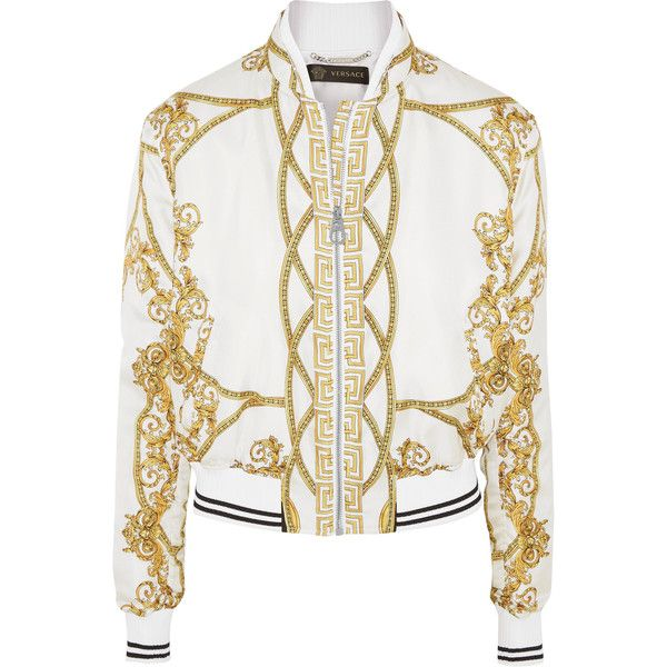 6498c8eca Versace Printed silk-twill bomber jacket ($1,780) ❤ liked on Polyvore  featuring outerwear, jackets, white, sporty jacket, flight jacket, in…