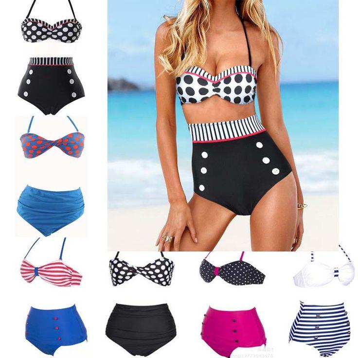 high waist push up bikini set, cute dots style halter strap https://wish.com/c/54004e6f7a9eb416ddf2ebac