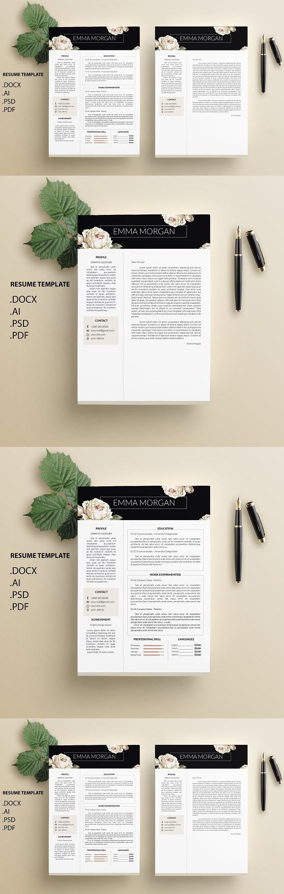 Cv Templates Pdf%0A White Rose CV   Resume Template   M  Resume Templates