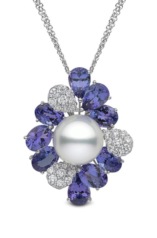 Yoko London pearl, tanzanite, and diamond necklace