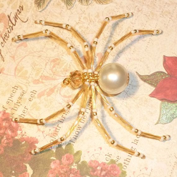 Champagne Pearl and Gold Beaded Spider Ornament by MerriAmelie, $11.00