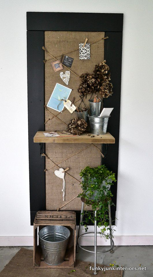Awesome chalkboard/pin board/ bulletin board by @Donna - Funky Junk Interiors