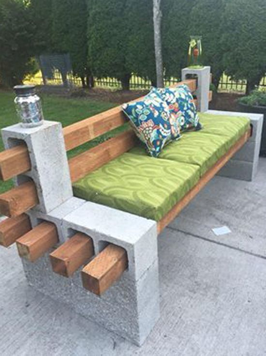 Make yourself a durable, weather tested bench with concrete blocks, PT lumber, a nice cushion (all on sale, of course).... Bet you could Velcro tab a backseat cushion vs. using pillows!)    Cheap .. ?? not sure about the cost. Price locally for supplies.