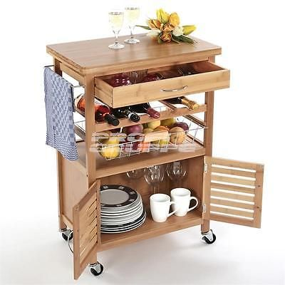 Bambus Küchenwagen Küchentrolley Küchenschrank Beistellwagen Servierwagen NEU