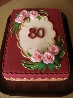 80th+birthday+cakes+for+mom | 80th Birthday Elegant Floral and Lace Cake