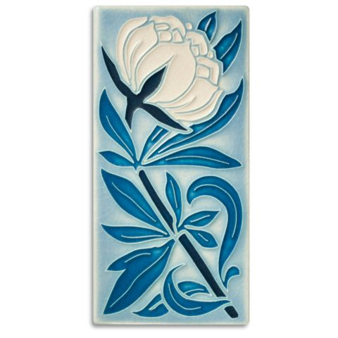 This tile reminds us of a beautiful peony garden that blooms each year in Ann Arbor.