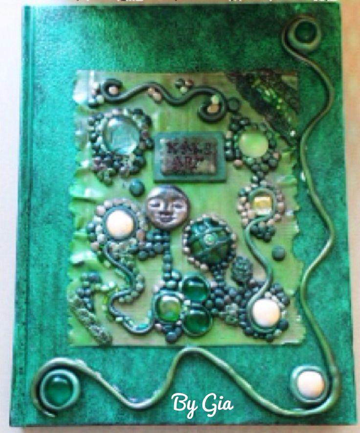 Polymer clay embellished journal cover #getmessyartjournal