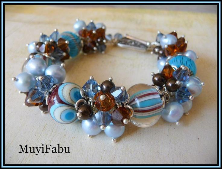 Lampwork Glass and Swarovski Crystal Bracelet: Crystals Bracelets, Artisan Bracelets, Swarovski Crystals
