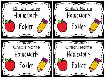 Editable cute homework folder labels. Easily label your homework folders with your student's names.