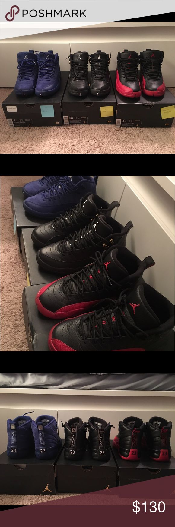 Jordan Retro 12 Adult worn. Retro 12 Royal (size 4Y), Retro 12 Masters (size 3.5Y), Retro 12 Flu Games (size 4Y). All only worn a couple of times. More detailed pictures available upon request. Listing price is per pair, if you would like to purchase multiple, please let me know and I can create a listing for you. Thank you! Jordan Shoes Sneakers