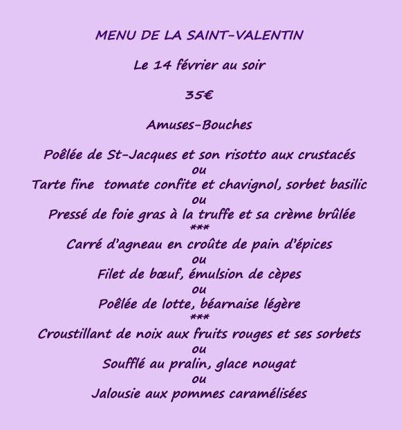 menu St Valentin au Pavé à Bayonne