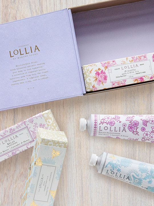 Gift Set Includes: 1 Relax Hand Cream 1 Wish Hand Cream 1 Breathe Hand Cream Description: A collection of signature Lollia favorites made from only the finest ingredients. A set of ultra-velvet hand c