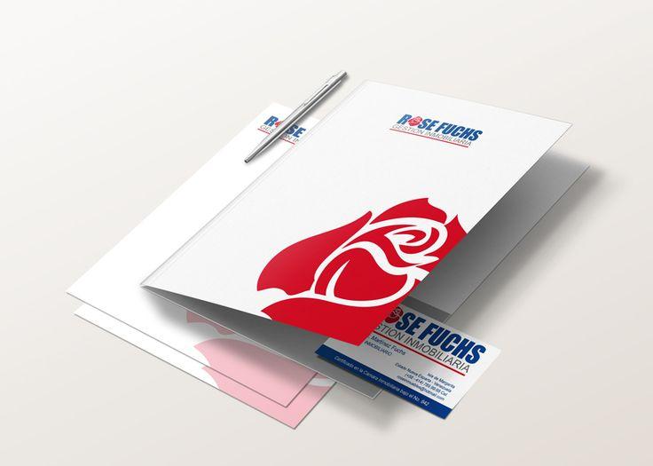 Tarjetas de presentación y Carpetas para Rose Fuch Gestión inmobiliaria diseñadas por Ambros Imprenta Digital y Estudio de Diseño