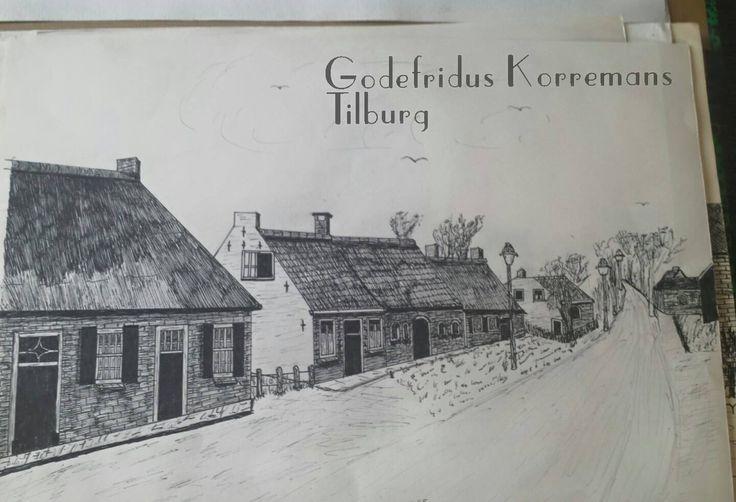 Huizen Berkdijksestraat Tilburg. Tekening door Godefridus Korremans. Upload FB Ilona van Poppel.