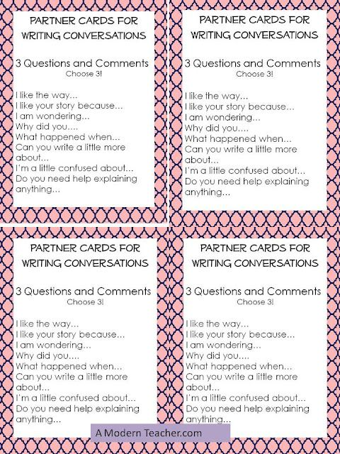 Writing conferences can be an important part of the writing process for students. Here are some writing conference conversation starters.