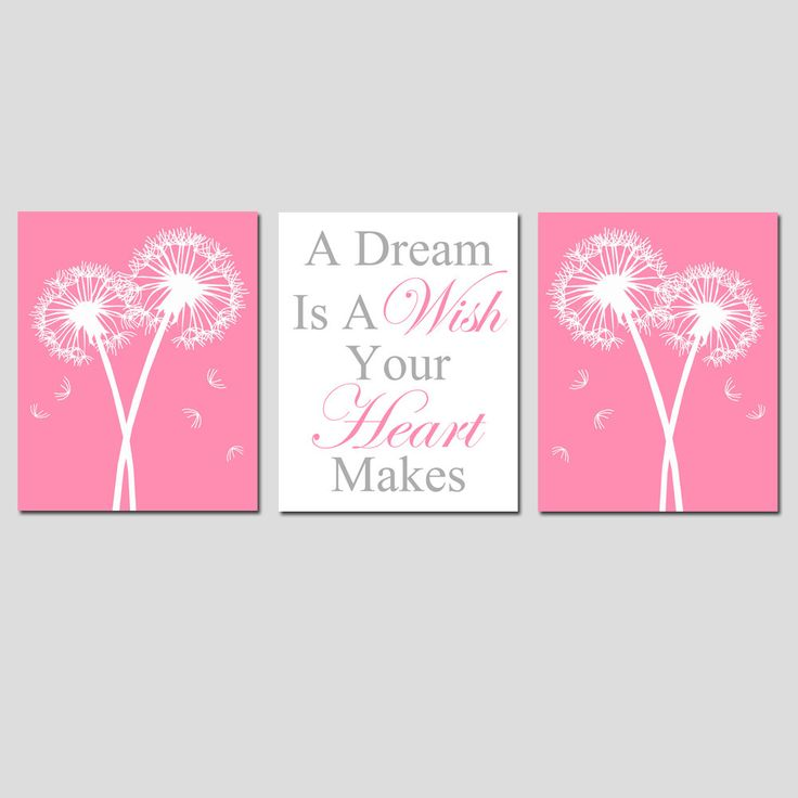 Set of Three 11x14 Prints - Baby Birds, Dandelions, Cinderella Quote - A Dream Is A Wish Your Heart Makes - Gray, Pink, White. $59.50, via Etsy.