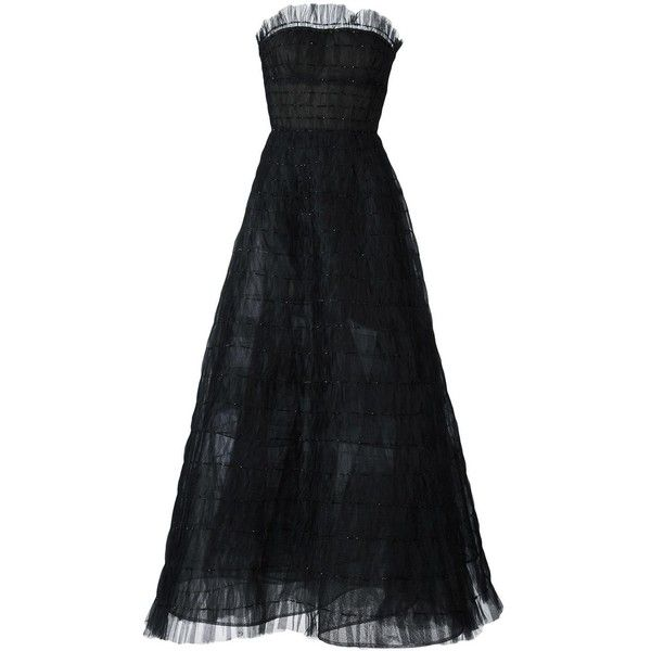 Oscar de la Renta strapless tulle gown (£9,525) ❤ liked on Polyvore featuring dresses, gowns, gown, black, tulle gown, strapless tulle ball gown, tulle evening dress, strapless ball gown and strapless dresses