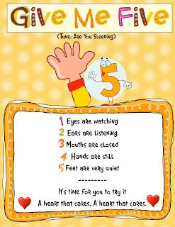 """Kindergarten Kiosk: Give Me Five """"time to learn and try our best"""" instead of the last line"""