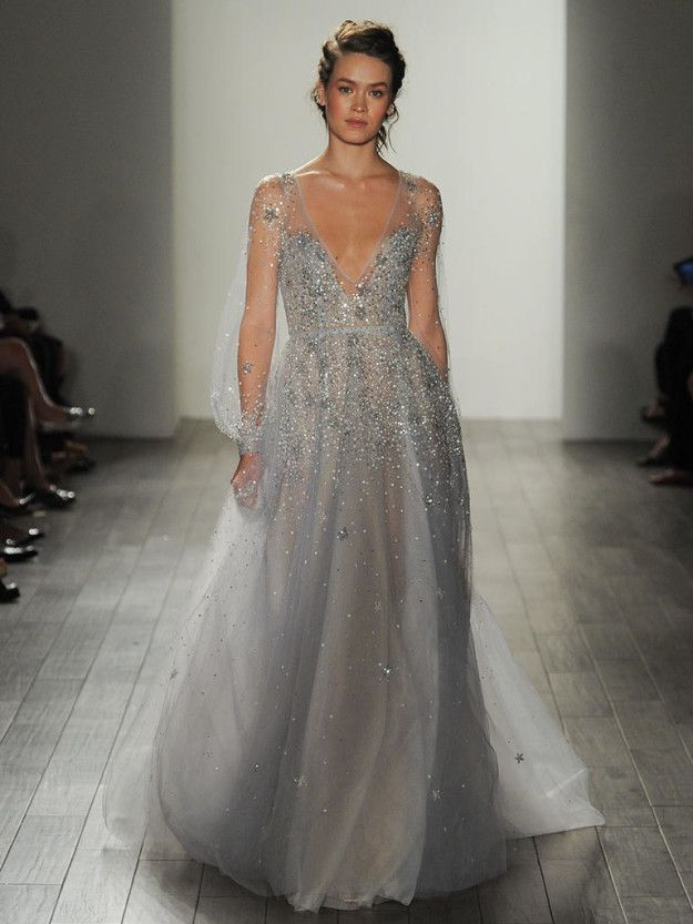 This sparkly blue Hayley Paige dress that Elsa would absolutely approve of. | 27 Ridiculously Pretty Wedding Dresses To Look At While The World Burns