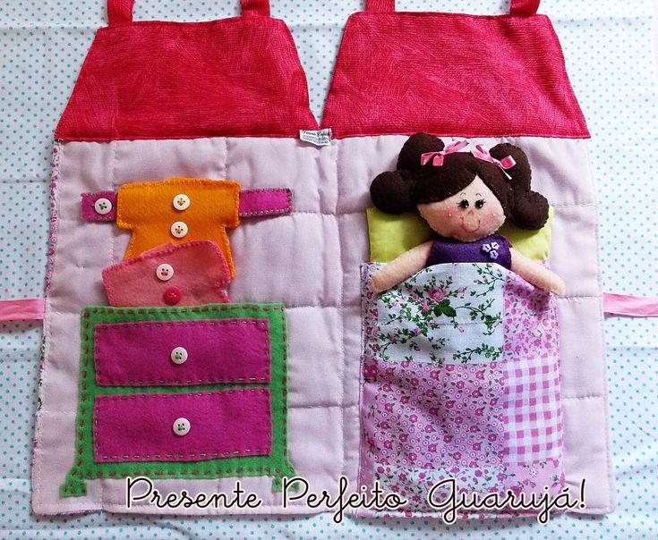 Bolsa De Festa De Feltro : Bolsa casa de boneca em tecido
