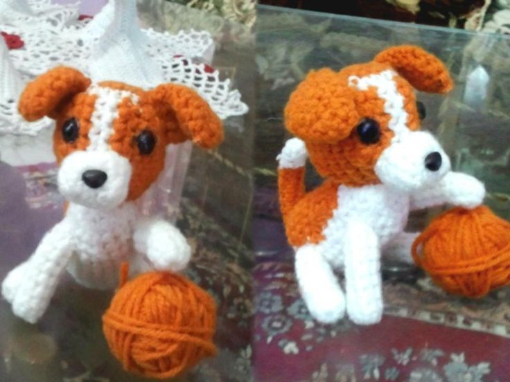 Cachorro de Jack Russell Terrier. Amigurimi.