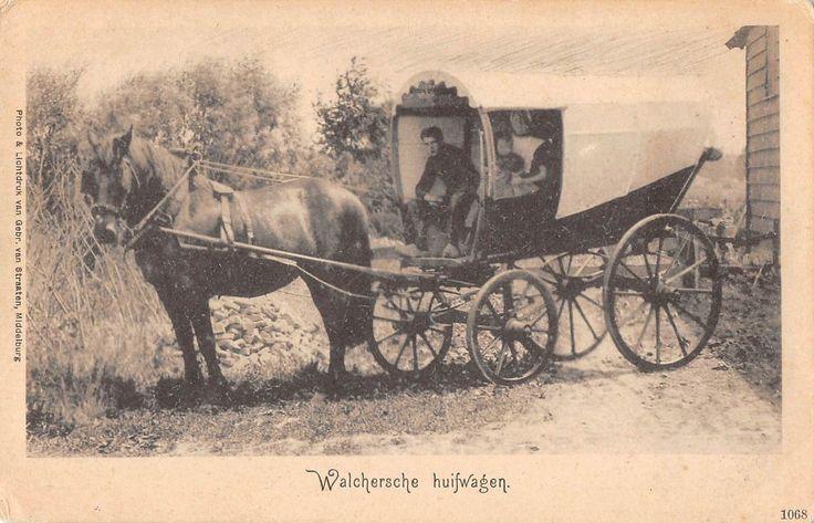 Walchersche Covered Wagon Scene Antique Postcard