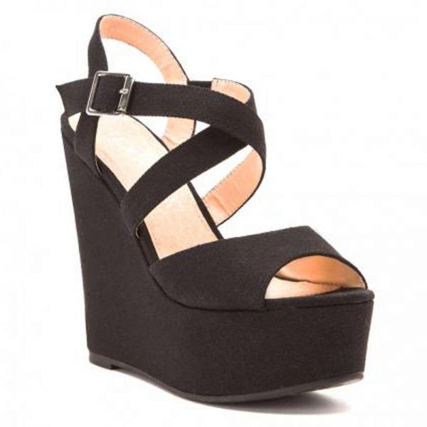 Sandales compensées noires Texto - Le dressing Mode de Captendance
