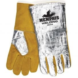 Memphis 4620A Premium Cow Side Leather Welding Gloves - Aluminized Back   FullSource.com
