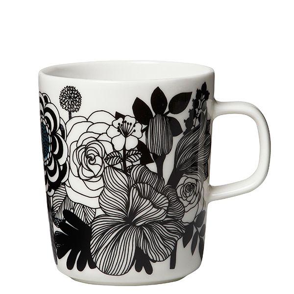 Marimekko's Oiva - Siirtolapuutarha mug 2,5 dl, black-white