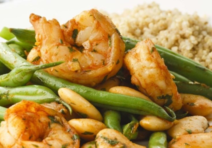Green beans add snap and color to the garlicky shrimp and butter beans in this…