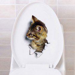 Etiquetas engomadas de la pared del gato de la opinión del agujero 3D para el cuarto de baño