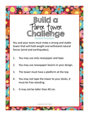 build a paper tower challenge student