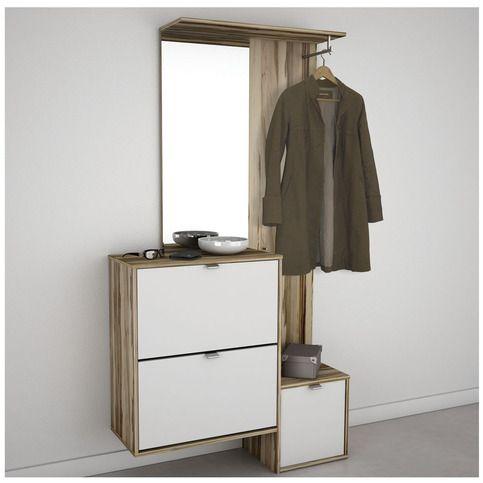 vestiaire miroir blanc et bois clair kalie diy deco. Black Bedroom Furniture Sets. Home Design Ideas