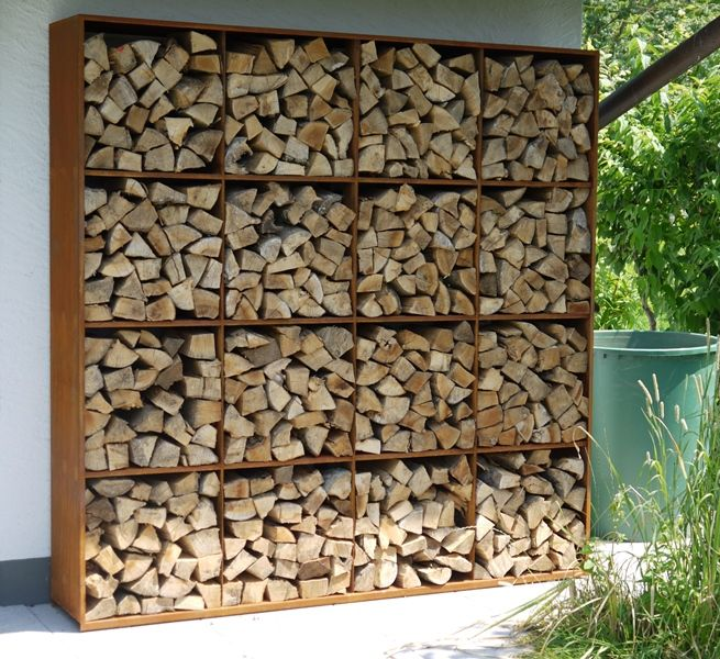 Corten Steel Rack To Store Fire Wood Kamin Pinterest Fire Wood Wood Storage And Rustic