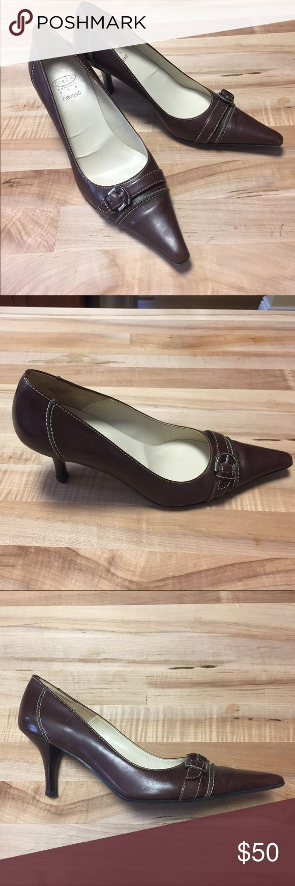 """Circa Joan & David brown pointed toe pumps. 7M Circa Joan & David brown pointed toe pumps with buckle detail.  Size 7M   In excellent shape with very little wear.  2 1/2"""" stacked wood heel. Circa Joan & David Shoes Heels"""