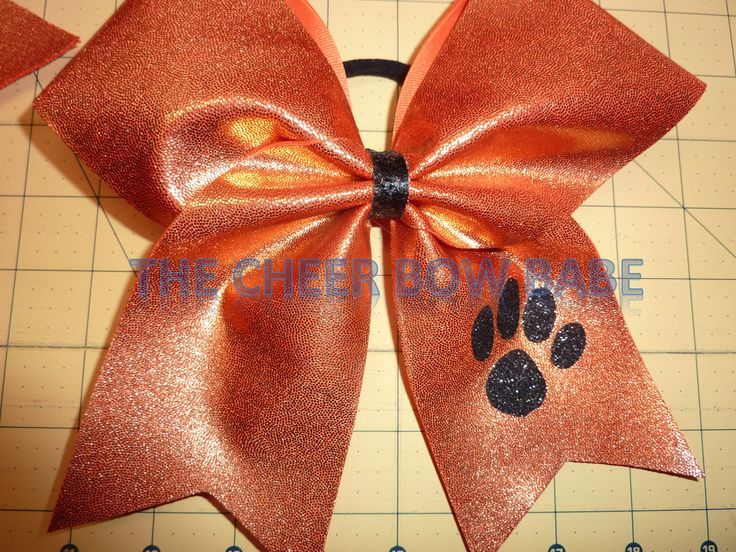 Glitter Paw Print Cheer Bow * TEAM * School  ~  You pick color * Color Guard Softball Football Volleyball Soccer School Squad Cheer Gift by TheCheerBowBabe on Etsy