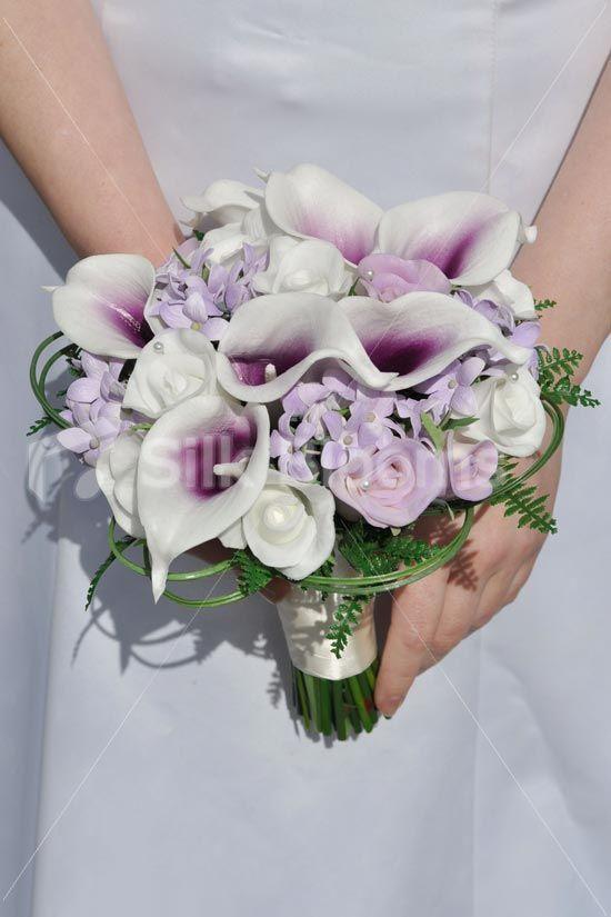White & Purple Vermeer Lily, Rose & Stephanotis Bridal Bouquet White & Purple Vermeer Lily, Rose & Stephanotis Bridal Bouquet [Anisa - Bride] - £149.99 : Silk Wedding Flowers, by Silk Blooms, Glasgow