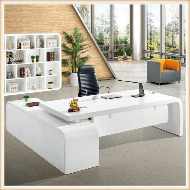 Source Glossy White Latest Office Table Designs For Office Counter Table Design On M Alibaba Com Office Table Office Table Design Office Interior Design