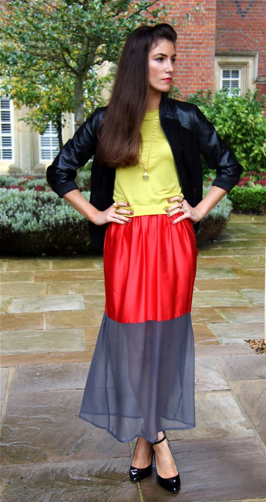 Bright colours are great for #AW and #SS! I teamed this two-piece by @Anna Popovich with #leather #bomber jkt by @creation INNA and black wedge shoes by @Kurt Geiger. Jewellery by @Lovebullets. Visit www.thestylehanger.co.uk for full #fashion #blog post