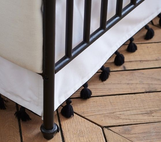Emily & Meritt Tassel Crib Skirt |    Elements of Style Blog | Black and White Nursery Insanity. |http://www.potterybarnkids.com/products/emily-meritt-tassel-crib-skirt-white-black/?pkey=cemily-and-meritt-shop&cemily-and-meritt-shop&bnrid=3517500&cm_ven=AfCmtyCont&cm_cat=rewardStyle&cm_pla=CJ&cm_ite=Std