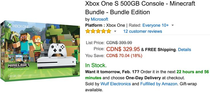 Amazon Canada Deals: Save 18% on Xbox One S 500GB Console  Minecraft Bundle  Bundle Edition Now For $329.99 W... http://www.lavahotdeals.com/ca/cheap/amazon-canada-deals-save-18-xbox-500gb-console/174668?utm_source=pinterest&utm_medium=rss&utm_campaign=at_lavahotdeals