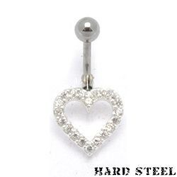 Hard steel cuore piercing ombelico in acciaio inossidabile - PBN-969