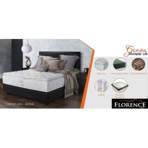 Florence GENOA Pillow Top Spring Bed      Urban Living Series     tebal/tinggi : 29 cm with PILLOW TOP     sandaran : Lazzaro Black tinggi 120 cm     divan bawah Lazarro Black : 24 cm     Comfort Level : MEDIUM