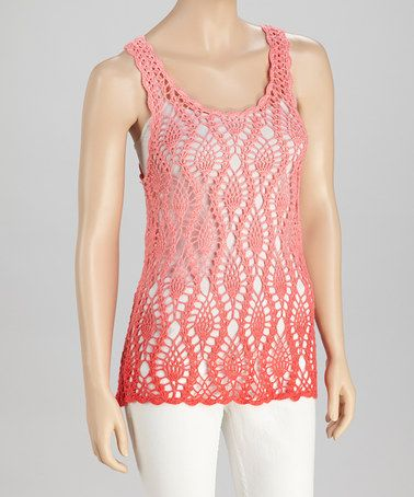 Take a look at this Coral Ombré Crocheted Tunic by SR Fashions on #zulily today!    $19.99