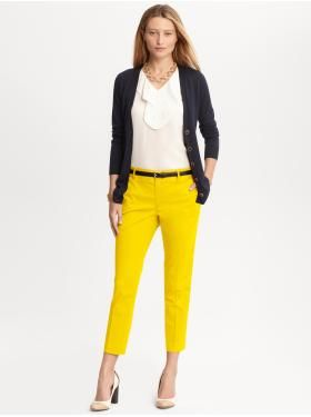 L - So Cute! Yellow Capris With White Blouse Under Navy Cardigan. Casual Friday. [Womenu0026#39;s ...