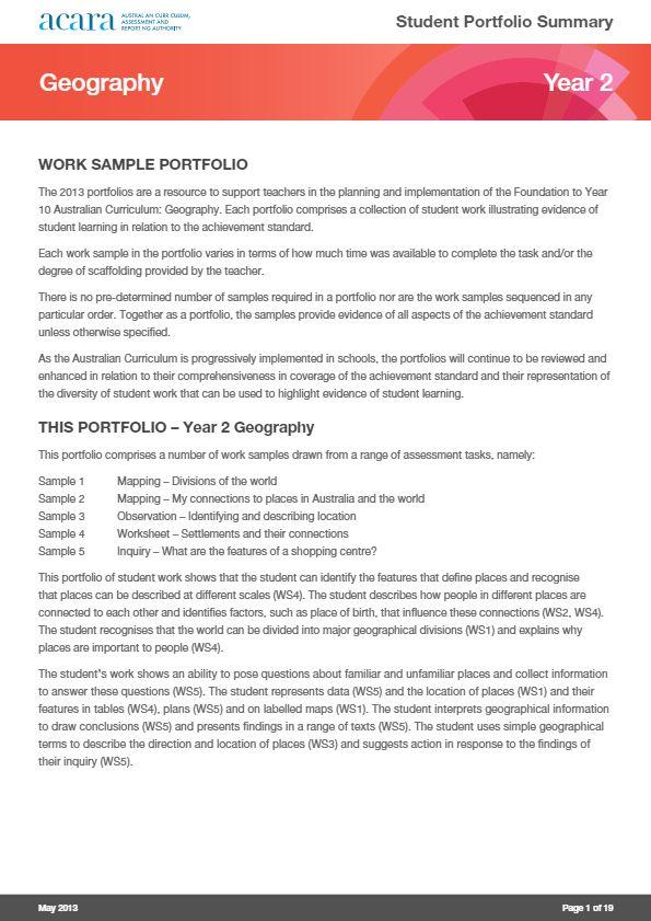 Year 2 Geography - work sample portfolio